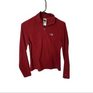The North Face Red TKA 100 1/4 Zip Fleece Size S
